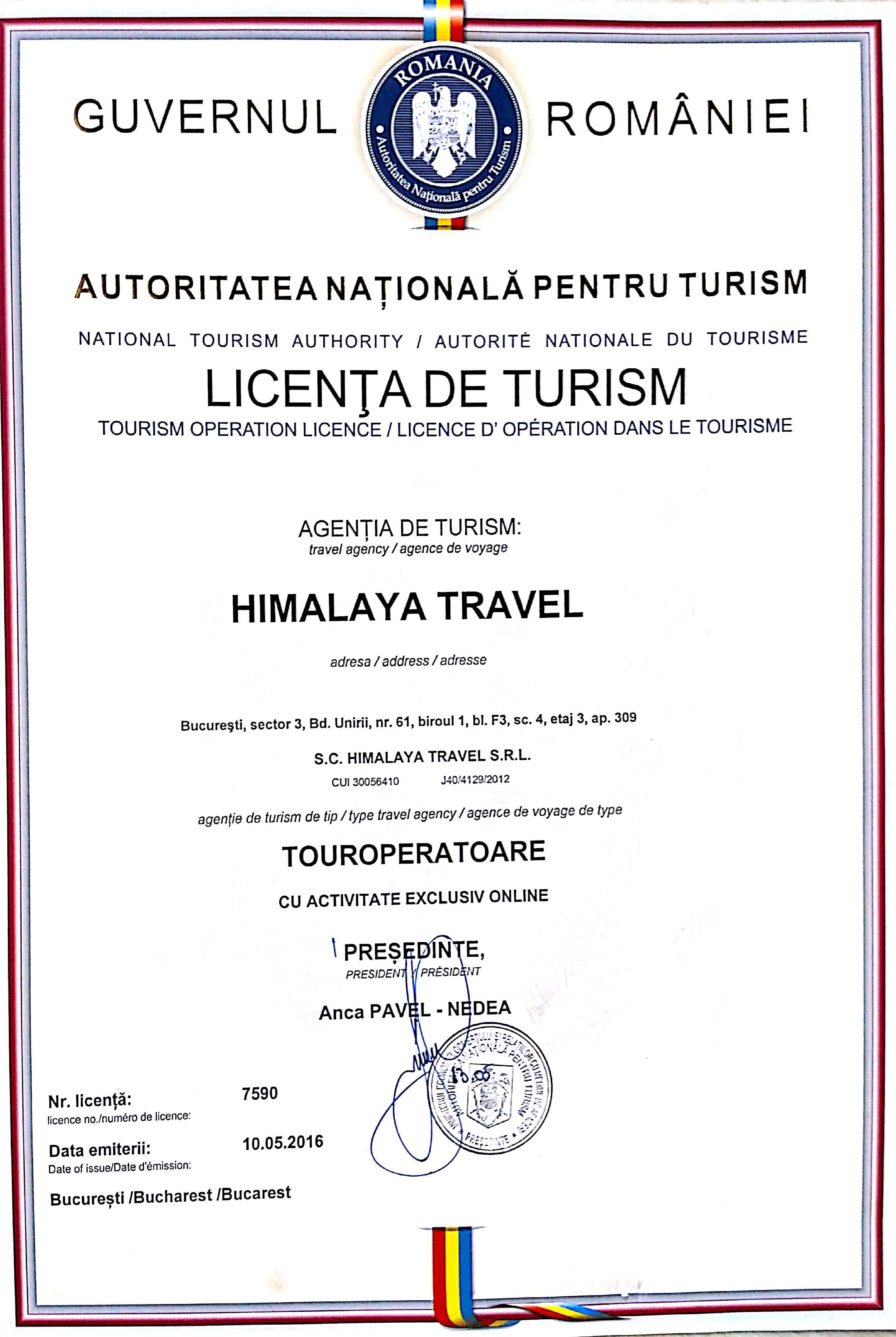 licenta himalaya travel